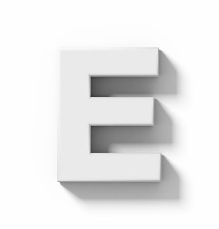 arial views: letter E 3D white isolated on white with shadow - orthogonal projection - 3d rendering Stock Photo