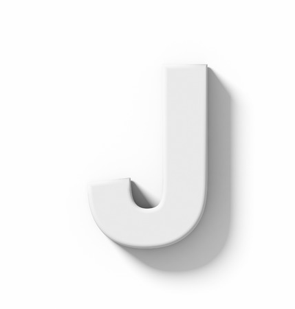 arial views: letter J 3D white isolated on white with shadow - orthogonal projection - 3d rendering