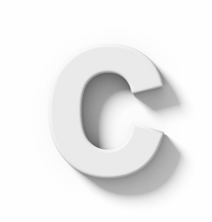 arial views: letter C 3D white isolated on white with shadow - orthogonal projection - 3d rendering Stock Photo