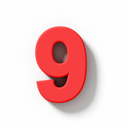number 9 3D red isolated on white with shadow - orthogonal projection - 3d rendering