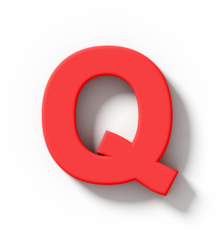 arial view: letter Q 3D red isolated on white with shadow - orthogonal projection - 3d rendering