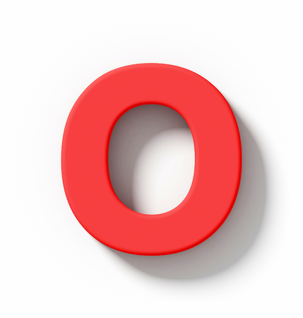 arial view: letter O 3D red isolated on white with shadow - orthogonal projection - 3d rendering