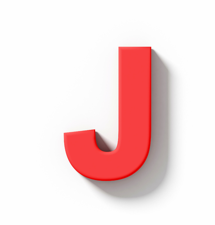 arial views: letter J 3D red isolated on white with shadow - orthogonal projection - 3d rendering