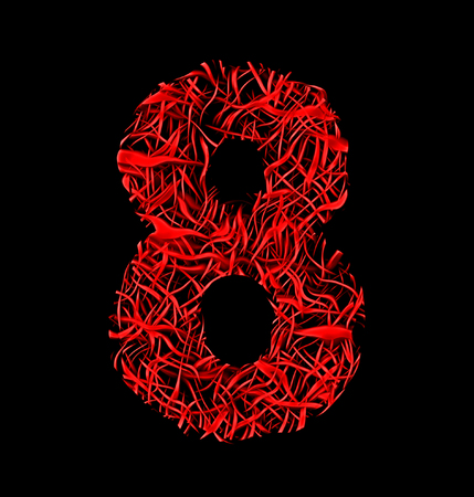 intertwined: number 8 red artistic fiber mesh style isolated on black background