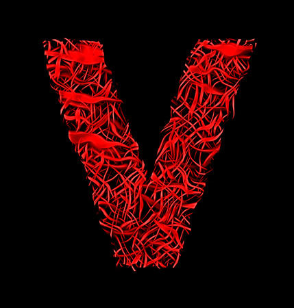 letter V red artistic fiber mesh style isolated on black background Stock Photo