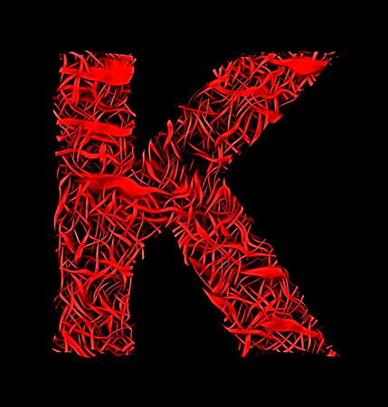 letter K red artistic fiber mesh style isolated on black background