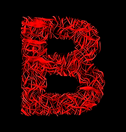 letter B red artistic fiber mesh style isolated on black background