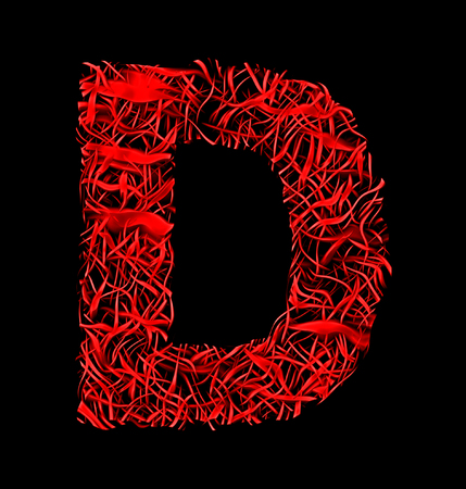 letter D red artistic fiber mesh style isolated on black background
