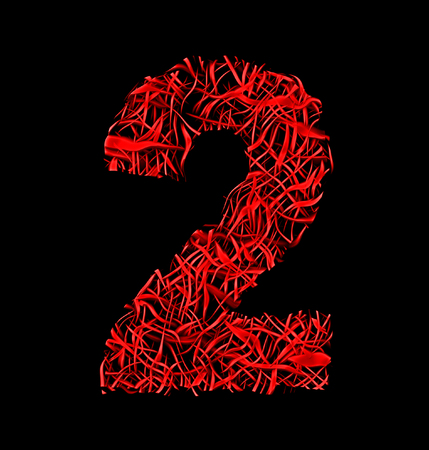 intertwined: number 2 red artistic fiber mesh style isolated on black background Stock Photo