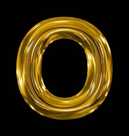 letter O rounded shiny golden isolated on black background Stock Photo