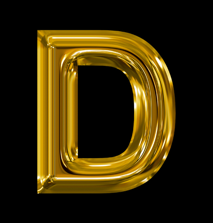 letter D rounded shiny golden isolated on black background