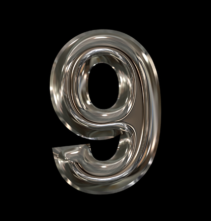 number 9 rounded shiny silver isolated on black background