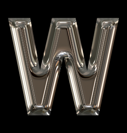 letter W rounded shiny silver isolated on black background