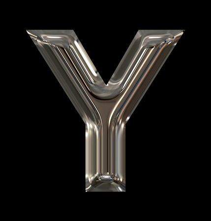 letter Y rounded shiny silver isolated on black background