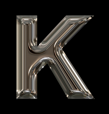 letter K rounded shiny silver isolated on black background