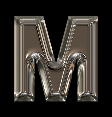 letter M rounded shiny silver isolated on black background