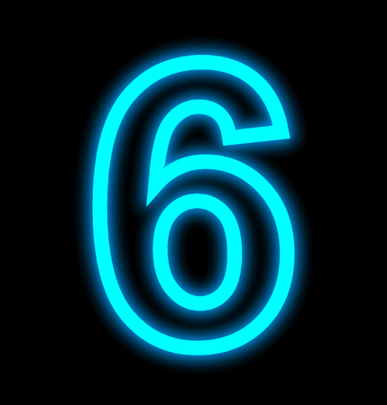 number 6 neon lights outlined isolated on black background