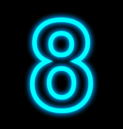 number 8 neon lights outlined isolated on black background