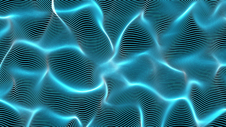 neon abstract waves on black background - shape made of lines - central composition