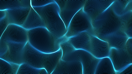 blue abstract waves on black background - shape made of lines - central composition