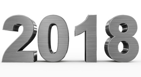 year 2018 metal 3d numbers isolated on white - 3d rendering