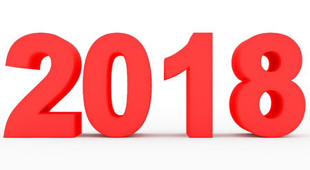 year 2018 red 3d numbers isolated on white - 3d rendering