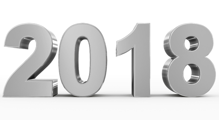 year 2018 silver 3d numbers isolated on white - 3d rendering Reklamní fotografie