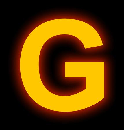 letter G neon light full isolated on black background Stock fotó