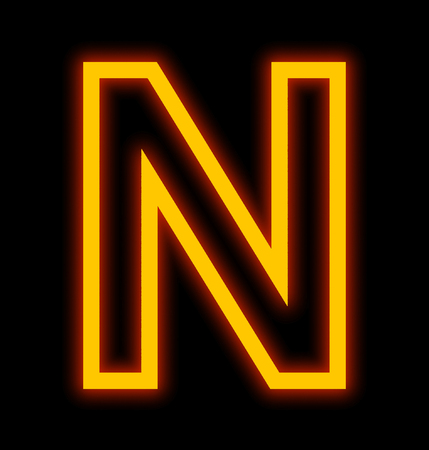 letter N neon lights outlined isolated on black background
