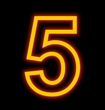 number 5 neon lights outlined isolated on black background Stock Photo