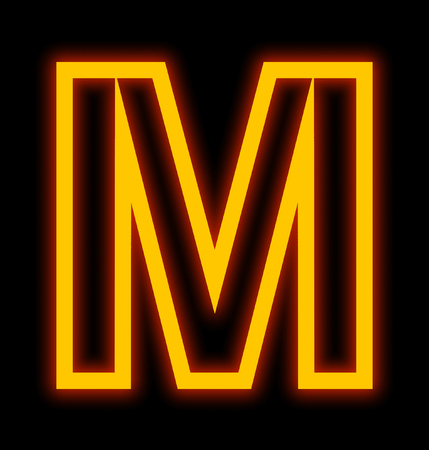 letter M neon lights outlined isolated on black background