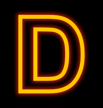letter D neon lights outlined isolated on black background Zdjęcie Seryjne