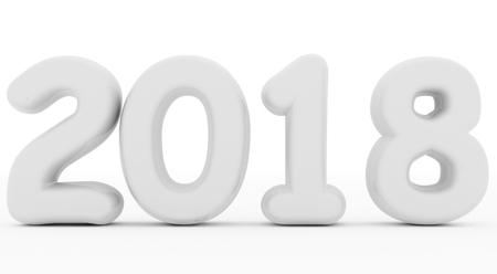 year 2018 white rounded 3d numbers isolated on white - 3d rendering
