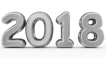 year 2018 silver rounded 3d numbers isolated on white - 3d rendering Reklamní fotografie