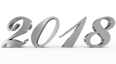 year 2018 silver script 3d numbers isolated on white - 3d rendering Reklamní fotografie