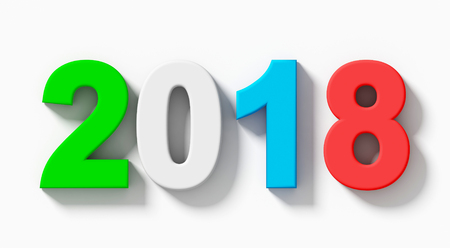 year 2018 colorful 3d numbers with shadow isolated on white - orthogonal projection - 3d rendering