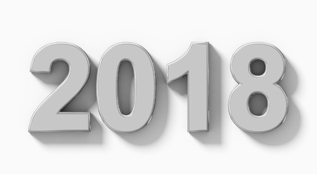 year 2018 silver 3d numbers with shadow isolated on white - orthogonal projection - 3d rendering