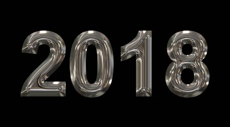 year 2018 metal 3d numbers isolated on black - 3d rendering Stock Photo