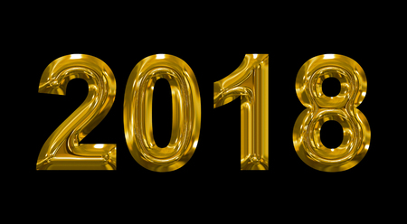 year 2018 golden 3d numbers isolated on black - 3d rendering