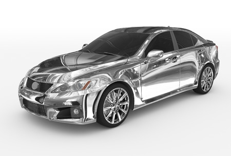 car isolated on white - chrome, tinted glass - front-left side view - 3d rendering