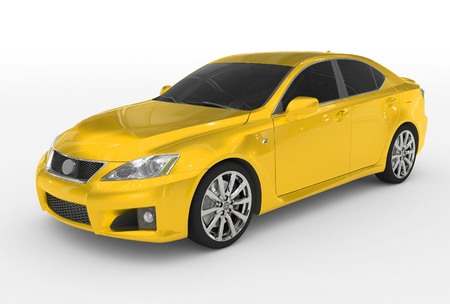 car isolated on white - yellow paint, tinted glass - front-left side view - 3d rendering