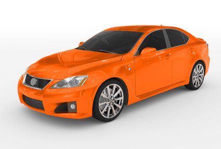 car isolated on white - orange paint, tinted glass - front-left side view - 3d rendering Stock Photo
