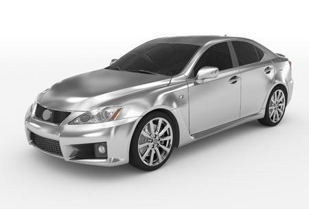 auto geïsoleerd op wit - zilver, getinte glas - voor-linker zijaanzicht - 3D-weergave