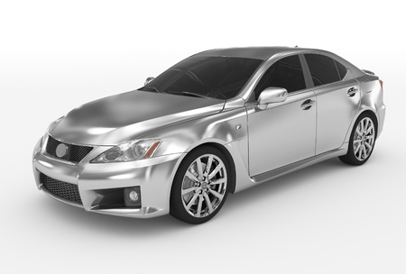 car isolated on white - silver, tinted glass - front-left side view - 3d rendering Stock Photo