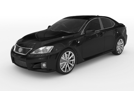car isolated on white - black paint, tinted glass - front-left side view - 3d rendering