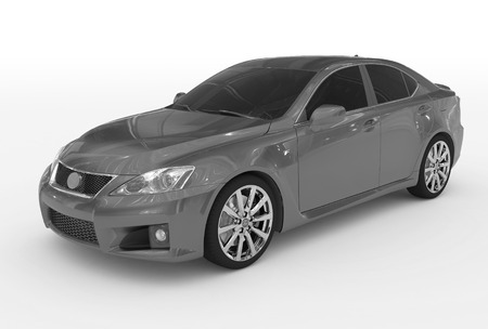 car isolated on white - gray paint, tinted glass - front-left side view - 3d rendering