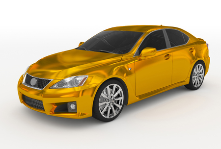 car isolated on white - golden, tinted glass - front-left side view - 3d rendering