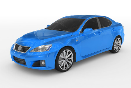 car isolated on white - blue paint, tinted glass - front-left side view - 3d rendering Stock Photo