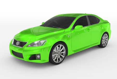 car isolated on white - green paint, tinted glass - front-left side view - 3d rendering