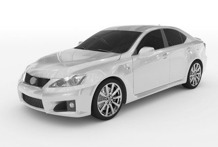 reflective: car isolated on white - white paint, tinted glass - front-left side view - 3d rendering